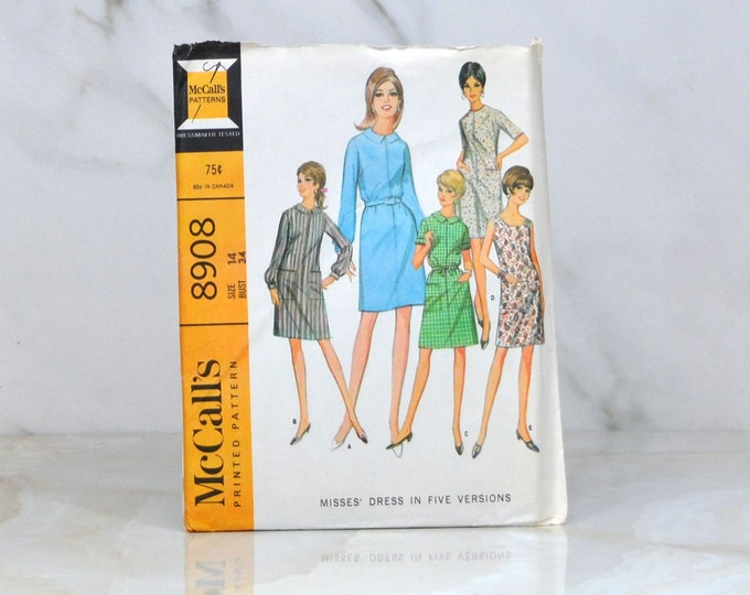 Vintage McCalls Uncut Pattern 8908 1967 Misses Dress In Five Versions Size 14 Bust 34 - Sewing Pattern - Dress Making - Crafting - Sewing