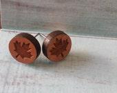 Canadian Maple Leaf Wooden Stud Earrings. Canadian Pride. Button Earrings. Nickel Free. Canada Day.