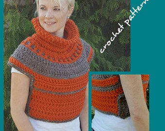 CROCHET PATTERN, crop top jacket crochet pattern, cowl pattern, shawl crochet  pattern, chunky sweater vest pattern, medieval clothing