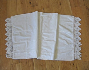 French bolster pillowcase with deep crochet lace edging - rustic French country style