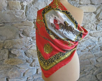 Red silk scarf with horse riders in Bois de Boulogne by Castel