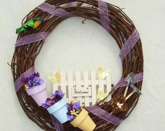 Welcome Spring Gardening Wreath - Handmade Home Decor