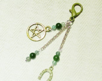 Good Luck Gemstone Pentagram Bag Charm - Fashion Charm - Purse Charm