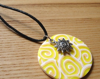 Polymer Clay Pendant, Pattern Disc Pendant, Beach Jewellery, Scuba, Handmade Necklace, 16th Birthday Gift, Gift for Daughter, FIMO Pendant