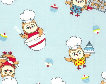 Snuggle Flannel Prints - Baking Owls - 5/8ths yard (22.5 inches)