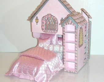 Shimmering Pink CASTLE PLAYHOUSE BED Dollhouse Miniature Custom Built Hand-Painted Victorian Charming with Silver Accents