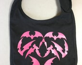 Baby Bib - Bat Heart - Knit Fabric Baby Bib - Child's Bib - Kids Bib - Infant Bib - Goth - Horror - Baby Gift - Baby Shower Gift - OOAK