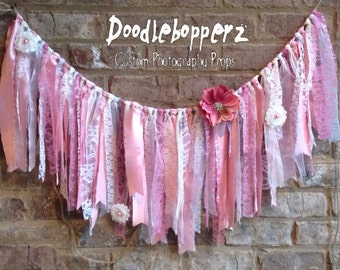 Shabby Chic Banner, Fabric Garland, Rag Banner, Window Curtain, Vintage, Rose, White, Natural,Cream,Shabby Chic,Satin, Flowers, Lace