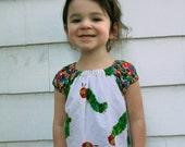 Custom Made The Very Hungry Caterpillar Inspired Peasant Dress