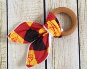 Organic Cotton Knit Wooden Teething Ring Harry Potter Gryffindor Inspired. Beeswax Baby Wooden Toy Teether