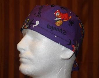 Men's Tie Back OR Scrub Hat with SWEAT Band/Mens Scrub hat/Scrub caps--Mickey's Haunted Halloween