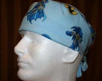 SALE--Men's Tie Back OR Scrub Hat with SWEAT Band/Mens Scrub hat/Scrub caps--Nanananananana Batman
