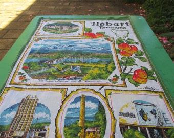 Tea Towel Vintage Hobart Tasmania - Australia Very 1970s
