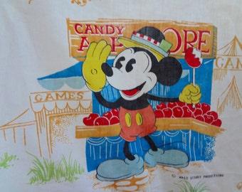 Vintage Disney Bedding Twin Bed Sheet fitted Boy Girl Nostalgia Retro At the Fair Scene Mickey Minnie Doanld Goofy