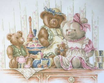 Finished completed Cross stitch - Lanarte -Bears and toys  34126 crossstitch counted cross stitch