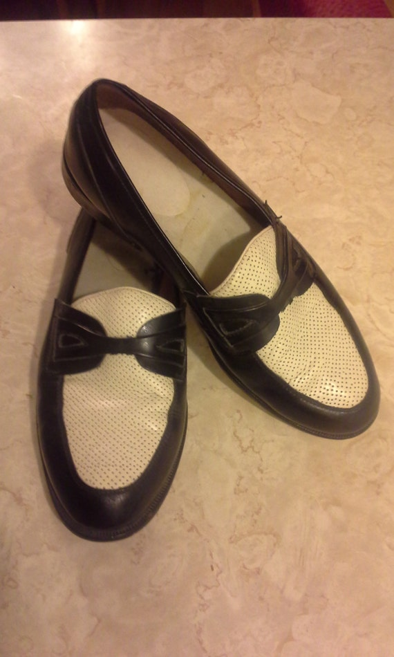 two tone black and white slip on shoes mens 9m