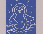 ACEO, ATC, Art Trading Card, Penguin, Hand Drawn, Kid Friendly, Super Deal