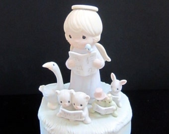 """New Listing Precious Moments Pastel Porcelain Music Box """"Let Heaven And Nature Sing"""" 1983"""