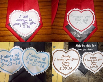 Personalized custom made Embroidered Men's Wedding Tie Label Patch Dad Groom SALE