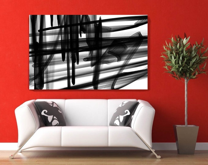 "Industrial Abstract in Black and White 2015-19. Unique Abstract Wall Decor, Large Contemporary Canvas Art Print up to 72"" by Irena Orlov"