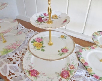 Vintage 3 tier cake stand, bone china tea plates, English Garden Tea Shop tray, excellent condition