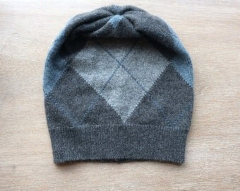 cashmere hat in greys and blue - beanie, knit hat