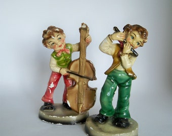 Kitsch Italian Ornaments Boys Playing Instruments