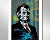 Abraham Lincoln EYE PATCH ABE President Motorcycle Art Print 11x17 by Rob Ozborne