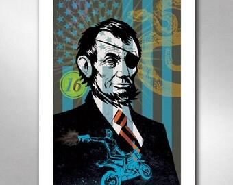 Abraham Lincoln EYE PATCH ABE President Motorcycle Art Print 11x17 by Rob Ozborne