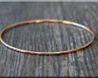 14k Rose Gold Filled Bangle Bracelet, Hammered Rose Gold Bangle, Rose Gold Stacking Bracelet, Rose Gold Minimalist Bracelet, Stacking Bangle