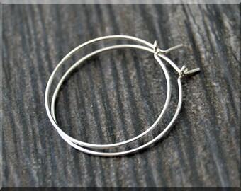 "Sterling Silver Hoop Earrings, 1"" Silver Hoop Earrings, Simple Earrings, Minimalist Jewelry, Boho Chic Earrings, Delicate Hoop Earrings"