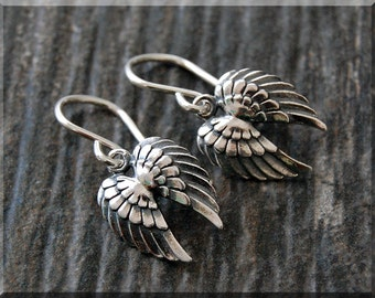 Angel Wings Earrings. Sterling Silver Feather Dangle Earrings, Wings Earrings, Handmade sterling silver drop earrings, Full Wing Earrings