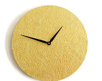 CIJ Sale, Unique Wall Clock, Gold Clock, Embossed Butterfly Decor, Home and Living, Decor & Housewares, Living Room Decor, Unique Gift