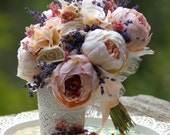 Brides Boho Bouquet and FREE boutonniere Dried lavender Pink Peony Ana