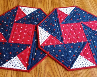 QUILTED AMERICANA PLACEMATS Two in set, Octagon shaped, 4th of July, Memorial Day, Holiday Decor', table topper or wall hanging  shaped