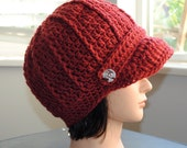 SALE- red crochet adult newsboy hat