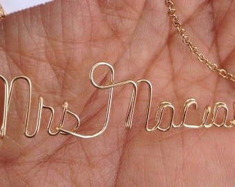 Gold Name Necklace-Wire Name Necklace-Personalized Jewelry-Wire Name-Personalized-Word Necklace-Necklace-Custom Name Necklace