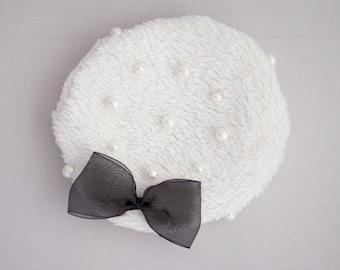 SD/SDGr/16/Unoa Zero Cream Fur Fleece beret with cotton pearls and organza ribbon option