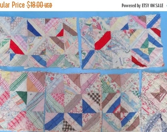 On Sale Six Antique Quilt Pieces