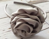 READY TO SHIP Silver Gray Grey Wedding Satin Rolled Rosette Headband, Fabric Flower, Girls Headband, U shaped hard headband