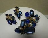 Vintage Kramer Austrian Art Glass Rhinestone Brooch Pin Earrings Cobalt Purple Blue AB Demi Parure