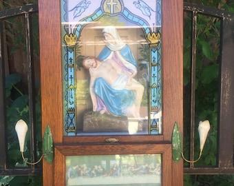 Vintage Wood Alter Large Oak Wooden Cross Crucefix last rites, Catholic box, last Blessings, Supper Priest Sick Call Sacrement of Penance