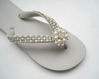 Flip Flops Bridal Wedding Pearl and Rhinestone Trimmed with Pearl and Rhinestone Brooch Accent Bridal Accessories Sandals
