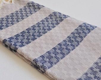 Peshtemal towel in Dark Blue and Latte color Turkish towel Cotton hand loomed soft