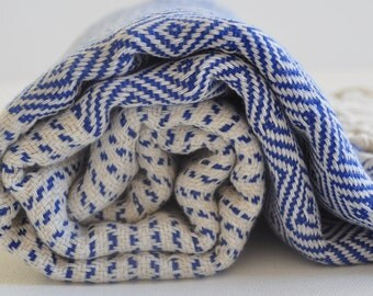 Turkish Beach Towel Turkish bath towel Peshtemal towel in ivory blue color Cotton hand loomed soft