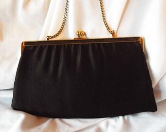 Ande' Black Clutch Matte Satin Arm Bag with Gold Hardware