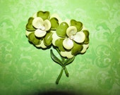 Vintage Double Flowers Two Shades Of Green Yellow Center With Pearl Enamel Flower Brooch Pin