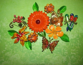 Destash Craft Lot of Vintage Jewelry, Brooches Earrings Enamel Flower