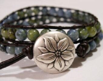 Beaded wrap bracelet, Wrap bracelet, Beaded LeatherWrap, Boho bracelet, Beaded wrap - 848