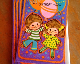 vintage set of ten (10) child's birthday party invitations with envelopes nos deadstock unused